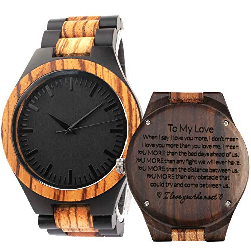 Engraved Wood Watches for Men - Natural Wooden Wrist Watch - Groomsmen Gifts for Men - Personalized Wedding Anniversary Gift for Men (506-2-FBA)