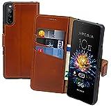 Suncase Book-Style Hülle kompatibel mit Sony Xperia 10 III 3 (2021) Leder Tasche (Slim-Fit) Lederhülle Handytasche Schutzhülle Hülle mit 3 Kartenfächer in Burned-Cognac
