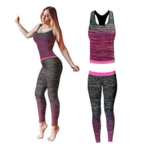 Bonjour - Abbigliamento sportivo da donna/canotta e leggings (set da 2 pezzi, top e leggings), set da palestra o per yoga, elasticizzato, Pink Vest Top, One Size ( UK 8 - 14 )