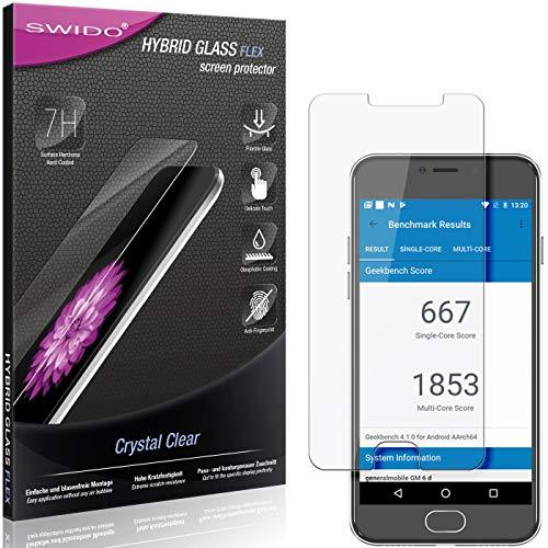 SWIDO Panzerglas Schutzfolie kompatibel mit General Mobile GM 6 Bildschirmschutz-Folie & Glas = biegsames HYBRIDGLAS, splitterfrei, Anti-Fingerprint KLAR - HD-Clear