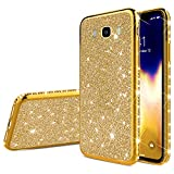 QPOLLY Compatible con Samsung Galaxy J7 2016 Funda Glitter Bling Glossy Plating Silicone TPU Ultra Delgado Transparent Gel Parachoque Funda Protectora Suave para Samsung Galaxy J7 2016, Tyrant Gold