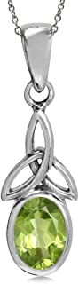 Birthstone Gemstone 925 Sterling Silver Triquetra Celtic Knot Solitaire Pendant with 18 Inch Necklace