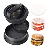 Hamburger Patty Maker Press Kit - 3 in1 Stuffed Burger Press Large Non Stick, Shapes The Perfect Delicious Patty!! - Give 60 Wax Patty Papers