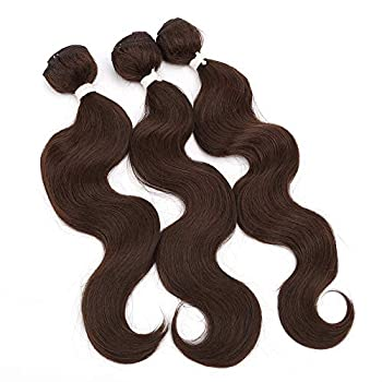 Body Wave Synthetic Hair Weave 3 Wavy Synthetic Bundles Total 200g 14 16 18 Inches High Temperature Fiber Hair Weft Water Wave Synthetic Hair Bundles Brown Curly Bundles  #4