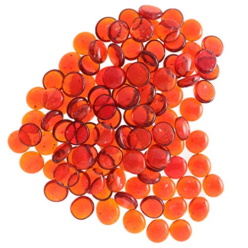 LOVIVER 100 Stücke Orange Klarglas Murmeln Aquarium Kiesel Füllstoff Marmor Perlen