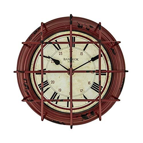 Reloj decorativo Relojes de pared de la vendimia industrial, apagado por batería en silencio, relojes antiguos numerales romanos decorativos, para oficina, dormitorios de cocina Habitación infantil /