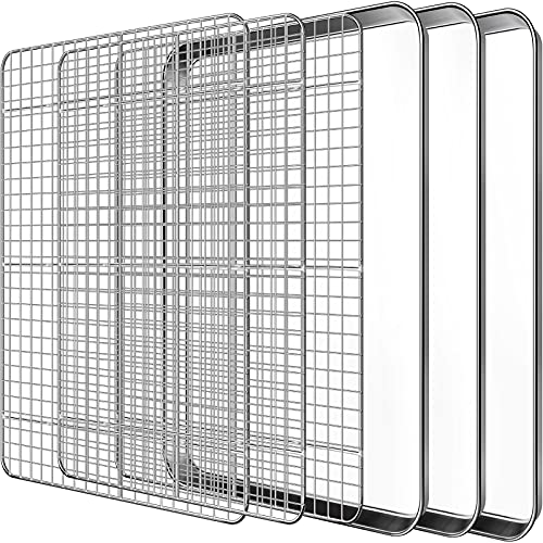 Baking Sheet with Cooling Rack Set, Footek Stainless Steel Cookie Sheet Baking Pan Tray with Wire Rack for Oven, Dishwasher Safe, Non Toxic, Heavy Duty & Easy Clean (6, 18inch)