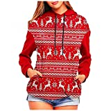 NHNKB Sudadera con capucha para mujer, diseño de Navidad con...