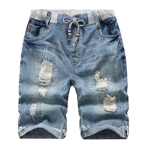 YoungSoul Pantalones Vaqueros Cortos para niños, Bermudas Vaqueros Desgastados, Shorts de Mezclilla con Cintura elástica y Rotos Distressed 13-14 años