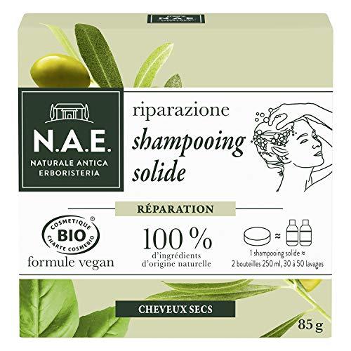 N.A.E. - Shampooing Solide Certifié Bio - Réparation Cheveux Cheveux Secs - Extraits d'Olive Bio et de Basilic Bio - Formule Vegan - 100 % d'ingrédients d'origine naturelle - Savon de 85 g