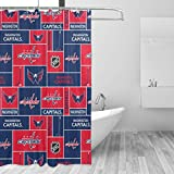 QIKING Bathroom Shower Curtain Washington Hockey Capital Shower Curtains Durable with 12 Hooks, Polyester Fabric Machine Washable Waterproof Shower Curtains 55 X 72 Inch Iron