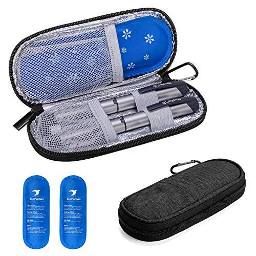 Yarwo Diabetiker Tasche mit Kühlakku für Insulin, Insulin Kühltasche für Zuckerkrank Medikamente, Reisetasche für Insulin Pen, Insulinspritzen, Insulin und Andere Diabetikerzubehör, Klein, Schwarz