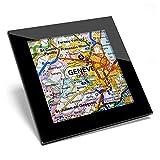 Posavasos de cristal Awesome – Geneve Suiza ciudad mapa de viaje de calidad brillante posavasos / protección de mesa para cualquier tipo de mesa #45137