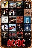 ACDC Discography Poster Carteles de Chapa Cartel de Metal Retro Garaje Hogar Jardín Pared Bar Café Vintage Decoración de Pared Arte 8 × 12 Pulgadas