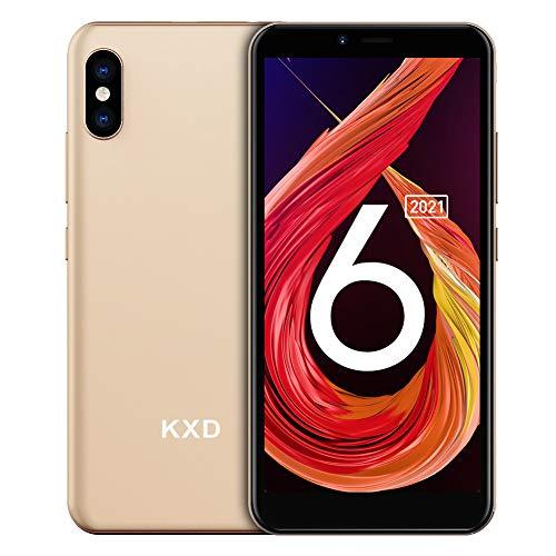 Teléfono Móvil Libre, KXD 6A Smartphones Baratos, 1GB RAM 8GB ROM (64GB SD) Smartphone Libre, Pantalla 5.5', 3G Android 8.1 Dual SIM, Face ID, Cámaras triples, 2500mAh/GPS/Versión Global - Gorado