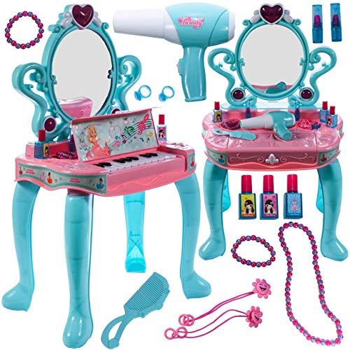 MalPlay Schminktisch mit Klavier | 2 in 1 | Frisiertisch Haartrockner mit Licht Sound | Schönheitsstudio mit Kosmetik Zubehör | für Kinder ab 3 Jahren