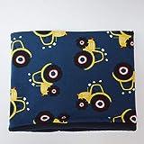 Fleece Loop Schal | Traktor blau gelb schwarz | Junge Boy Kind 3-4 - 5-6- 7-8 Jahre | Halstuch Schal warm gefüttert