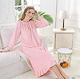 HUANSUN Otoño Pijama Mujer Franela Polar Largo cálido Princesa camisón Homewear niña Invierno Espesar camisón camisón Talla Grande, Rosa, 2, Talla l 60,67 kg