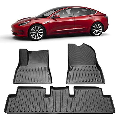 SUMK 3D Model 3 Floor Mats Complete Set Custom Fit All-Weather Floor Mats for Tesla Model 3 Floor Liners 2019, 2020,2021 Black (3 Piece a Set)