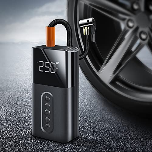 【Portable&Fast Inflation 】【Compact&Cordless】 Trudin Multi-Functional Air Compressor【Easy to Use】 Tire Inflator,【Accurate Tire Pressure Gauge】 Car, Bike, Motorcycle, Air Pump for Balloon, Basketball