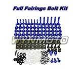 WYNMOTO US Stock Full Motorcycle Fairing Bolt Kit For Yamaha R1 98 99 00 01 YZF1000 R1 1998 1999 2000 2001 New Body Screws Aluminum Fasteners Hardware Clips (Blue)