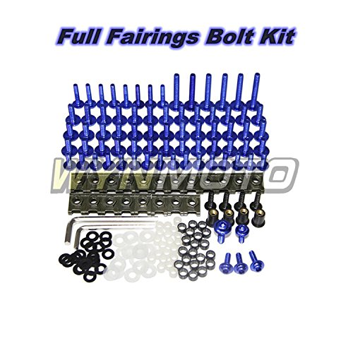 WYNMOTO US Stock Full Motorcycle Fairing Bolt Kit For Yamaha R6 98 99 00 01 02 YZF-600 R6 1998 1999 2000 2001 2002 New Body Screws Aluminum Fasteners Hardware Clips (Blue)