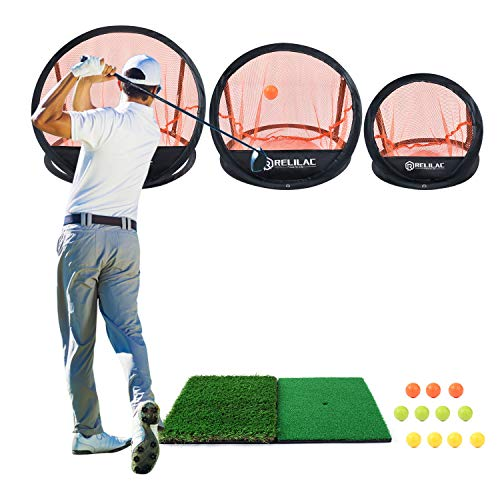 RELILAC 3 Piece Golf Chipping Net with Dual Turf Hitting Mat and 12 Foam Training Balls - Indoor/Outdoor Golfing Target Accessories and Backyard Practice Swing Game - Great Gifts for Men Golfers