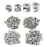 112Pcs Furniture Connecting Cam Lock Fittings, Furniture Connecting Fastener Cabinet Connectors Hardware Bolts, Furniture Connecting Lock Nut, 4 Sizes