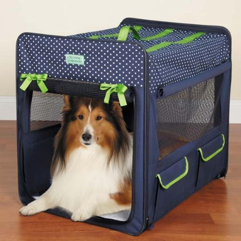 Cruising Companion Polka Dot Collapsible Dog Crate, XSmall, bluee