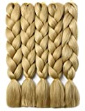 YAYAFAIRY Kanekalon Braiding Hair Extensions Box Braiding Hair for Black Women 24 Inch Long Jumbo Braiding Hair Ash Blonde