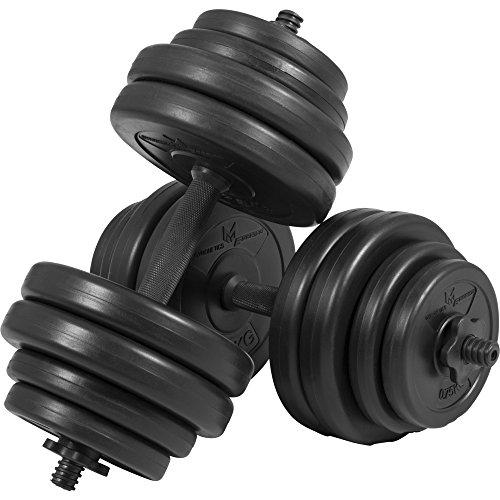 GYRONETICS Kurzhantel-Set 30 kg Kunststoff – Hantelstangen 25 mm, Gewichten und Sternverschlüssen
