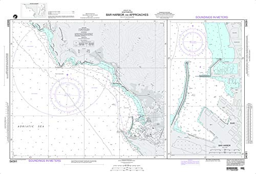 NGA Chart 54091 Bar Harbor and Approaches 39' x 26.5' Laminated Map