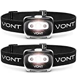 Spark LED Headlamp Flashlight (2 PACK) Super Bright Head Lamp Suitable for Running, Camping, Hiking, Climbing, Includes Red Light, Headlamp for Adults & Kids, Vont