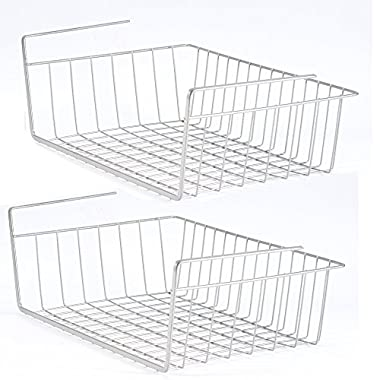 2 Pack Space Saving Under Shelf Basket Wire Rack Organizer Storage Fit Dual Hooks for Kitchen Pantry
