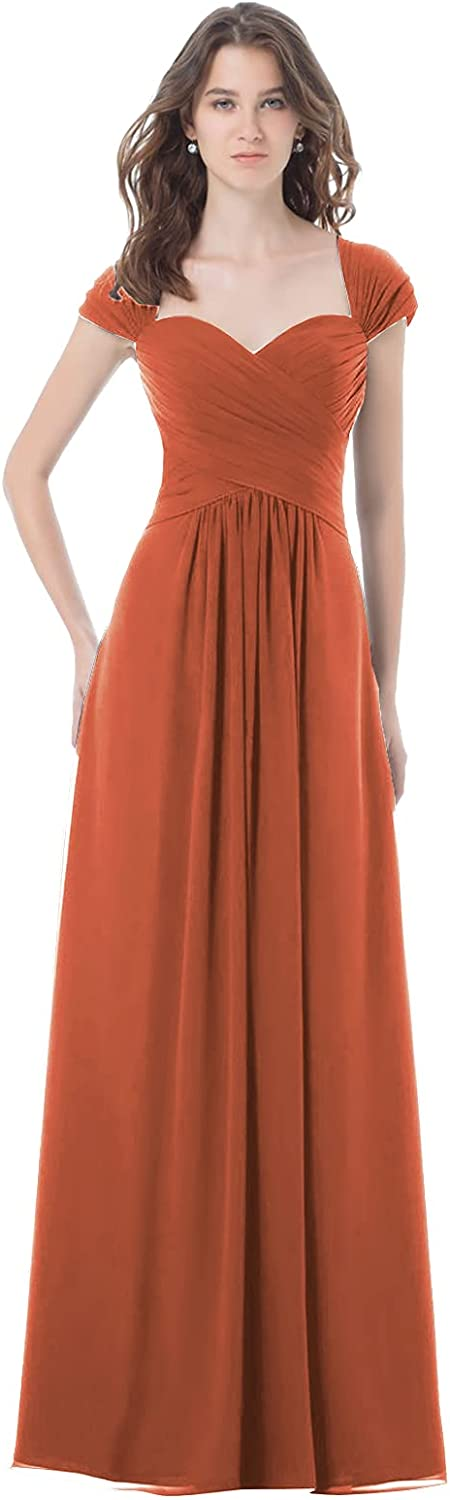 Women's Vintage Mother of The Bride Dress with Cap Sleeves Ruched Bridesmaid Dresses Pleated Formal Gowns
