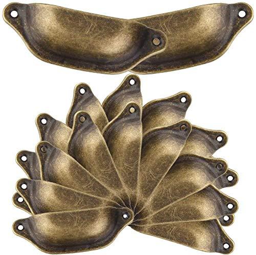 20PCS Muschelgriff Schubladen Griffe Antik Vintage Griffe Bronze Möbelgriff Halbkreis mit Schrauben 9.8cmx3.3cm für Kabinett Schubladen Schrank Apothekerschrank