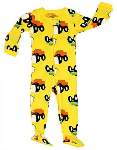 Elowel | Schlafanzug | Babys - Kinder | Jungen | Einteiler | Strampler | Design Pyjama | Enganliegend | 100% Baumwolle | Bequem | Größe: 12-18 Monate | Design: Monster LKW | Farbe: Gelb