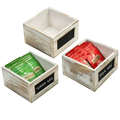 MyGift Shabby Whitewashed Wood Storage Organizer Boxes for Tea Bags, Sugar & Sweeteners with Chalkboard Labels, Set of 3
