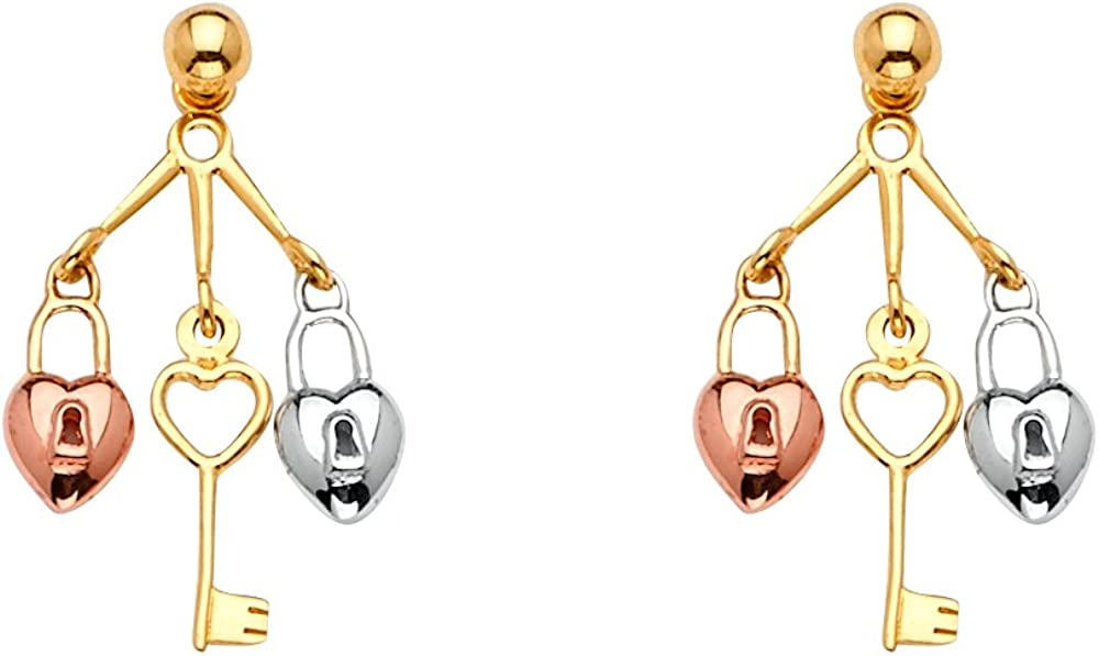 FB Jewels 14K White Yellow And Gold Drop Lowest price challenge Key Womens Rose Lock Cheap mail order shopping