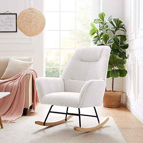 Rocking Chair Accent Chair Armchair, Tribesigns Lazy Rocking Chair Casual Single Sofa Recliner Fabric Lambswool Upholstered Rocking Chair for Dining Rooms, Living Rooms, Bedrooms, Offices (White)