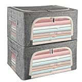 Awekris Stackable Storage Bins Box, Foldable Clothes Organizer with Clear Window & Carry Handles, Great for Clothes, Blankets, Closets, Bedrooms and More Set of 2 Medium (Grey)
