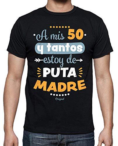 latostadora - Camiseta 50 y Tantos para Hombre Negro L