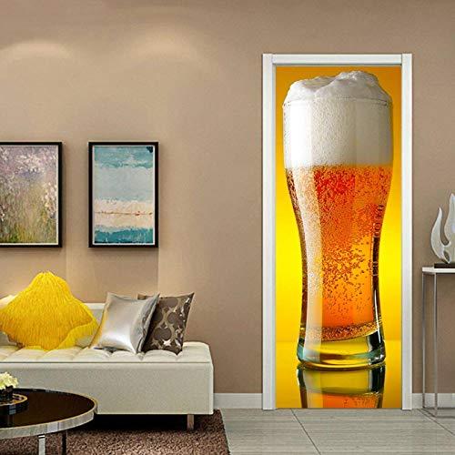 WZKED Etiqueta Engomada del Arte Mural De La Puerta 3D Bebidas 77X200Cm Vinilo Extraíble Murales De Papel Decorativos para El Hogar Baño Sala De Estar Dormitorio Decoración