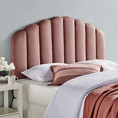 Modway Veronique Channel Tufted Performance Velvet Upholstered Full/Queen Headboard in Dusty Rose
