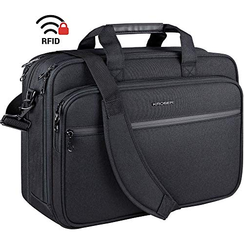 KROSER 18' Laptop Bag Premium Laptop Briefcase Fits Up to 17.3 Inch Laptop Expandable Water-Repellent Shoulder Messenger Bag Computer Bag with RFID Pockets for Travel/Business/School/Men/Women-Black