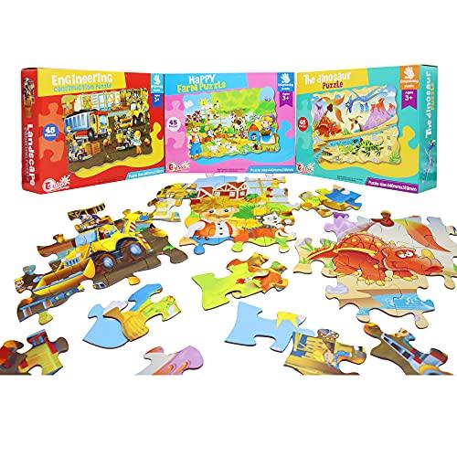 EACHHAHA Rompecabezas para Niños 3 Piezas,Juegos Intelectuales para Niños de 4 5 6 Años,Dinosaurio/Construcción de ingeniería/Granja Feliz
