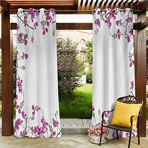 ScottDecor Flower Thermal Insulated Curtain Gazebo Garden Furniture House Vintage Frame with Ivy Floral Design with Leaves Buds and Branches Retro Print Multicolor 96' W by 72' L(K245cm x G183cm)