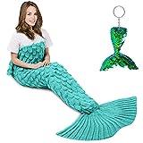 AmyHomie Mermaid Tail Blanket, Crochet Mermaid Blanket for Adults Soft All Seasons Sleeping Blankets Gift for Women(ScaleMint,Adults)