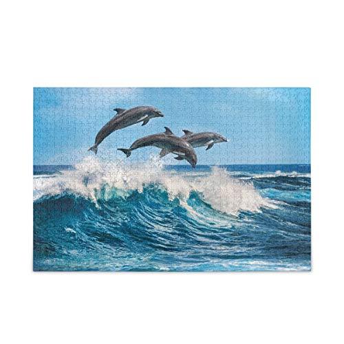 ISAOA Rompecabezas de 1000 piezas, juguete educativo para aliviar el estrés para adultos y niños, delfín saltar el rompecabezas del agua