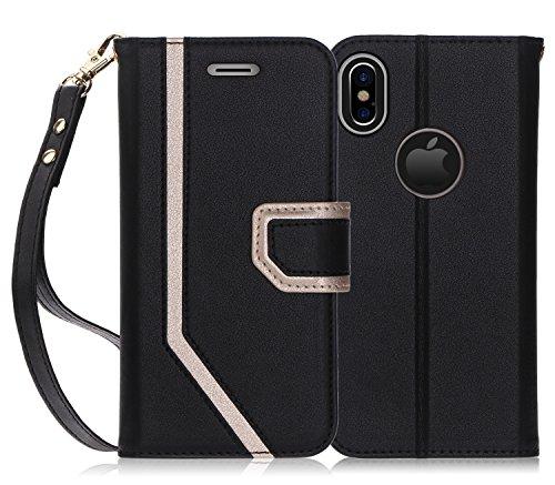 FYY Coque iPhone XS, Coque iPhone X, [RFID Portefeuille Blocage] [Miroir de Maquillage] Cuir PU de première qualité Apple iPhone XS/X Étui pour Portefeuille avec Miroir cosmétique et dragonne Noir